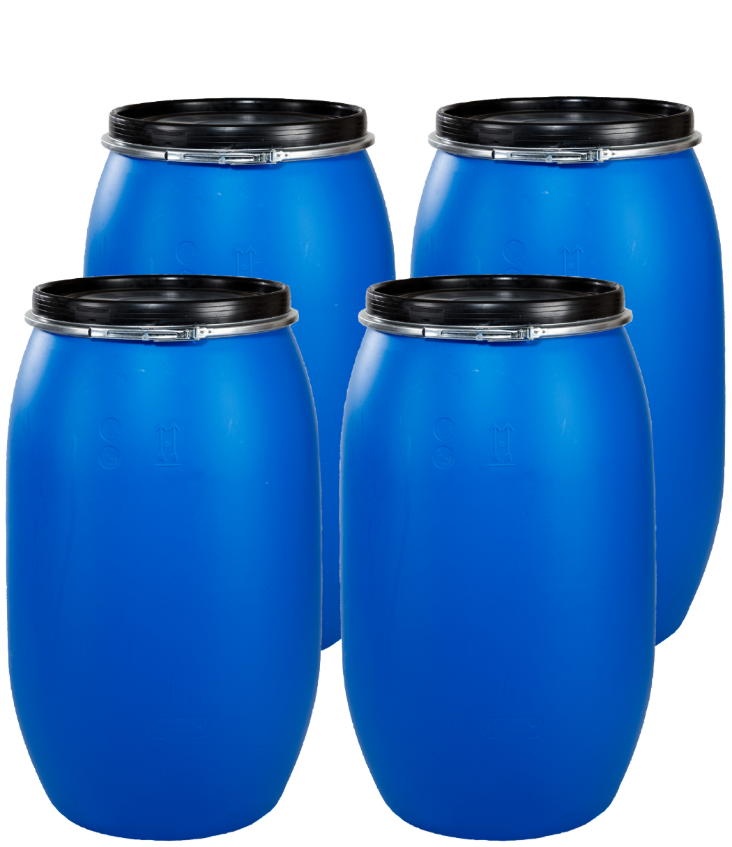 220 Litre Full Open Top Plastic Drum - Pack of 4 Drums